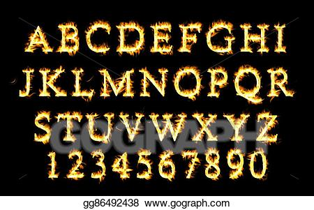 Drawing collection alphabet of. Clipart fire font