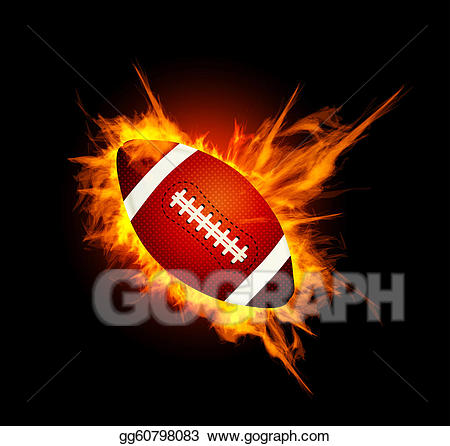 Drawing realistic american in. Clipart football fire