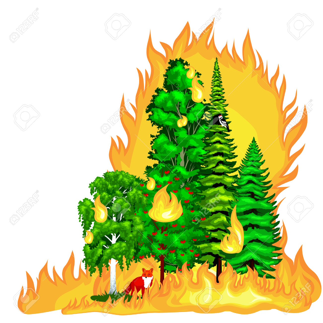 Fire clipart forest fire. In landscape damage nature