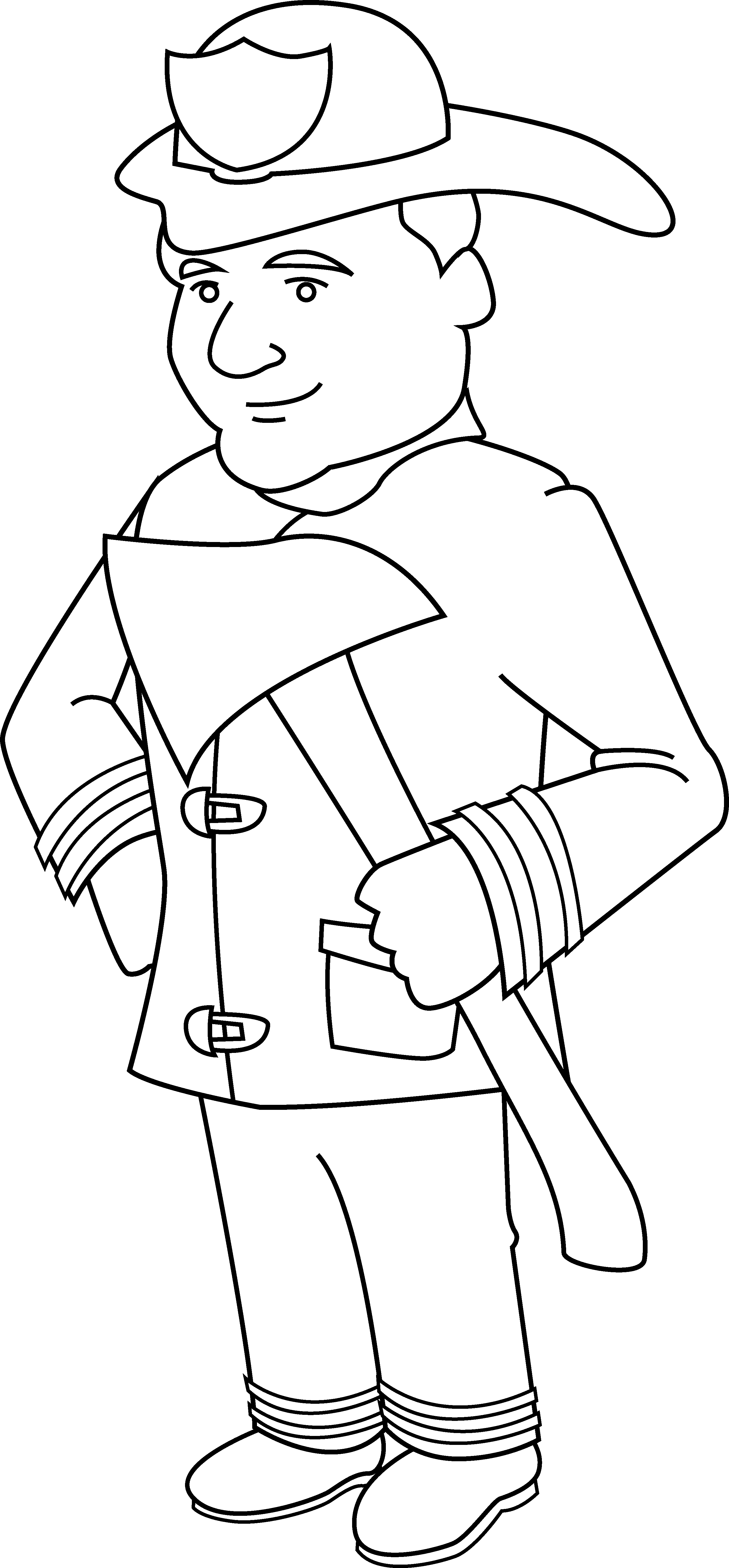 Fireman clipart colouring page.  collection of firefighter
