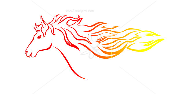 Free vectors illustrations graphics. Horse clipart fire
