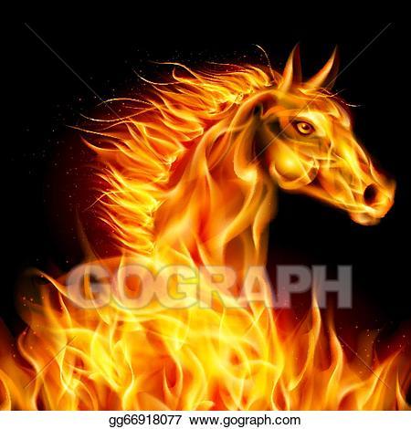 Horse clipart fire. Vector art eps gg