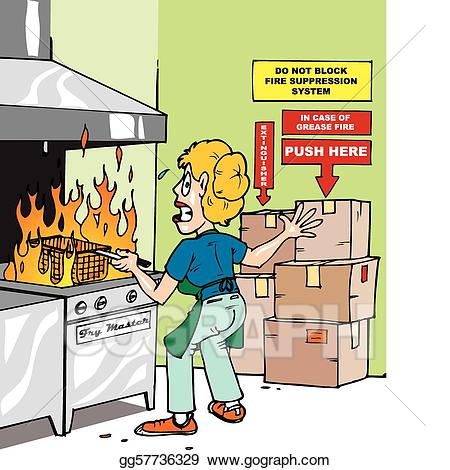 Clipart fire kitchen fire. Eps vector grease stock