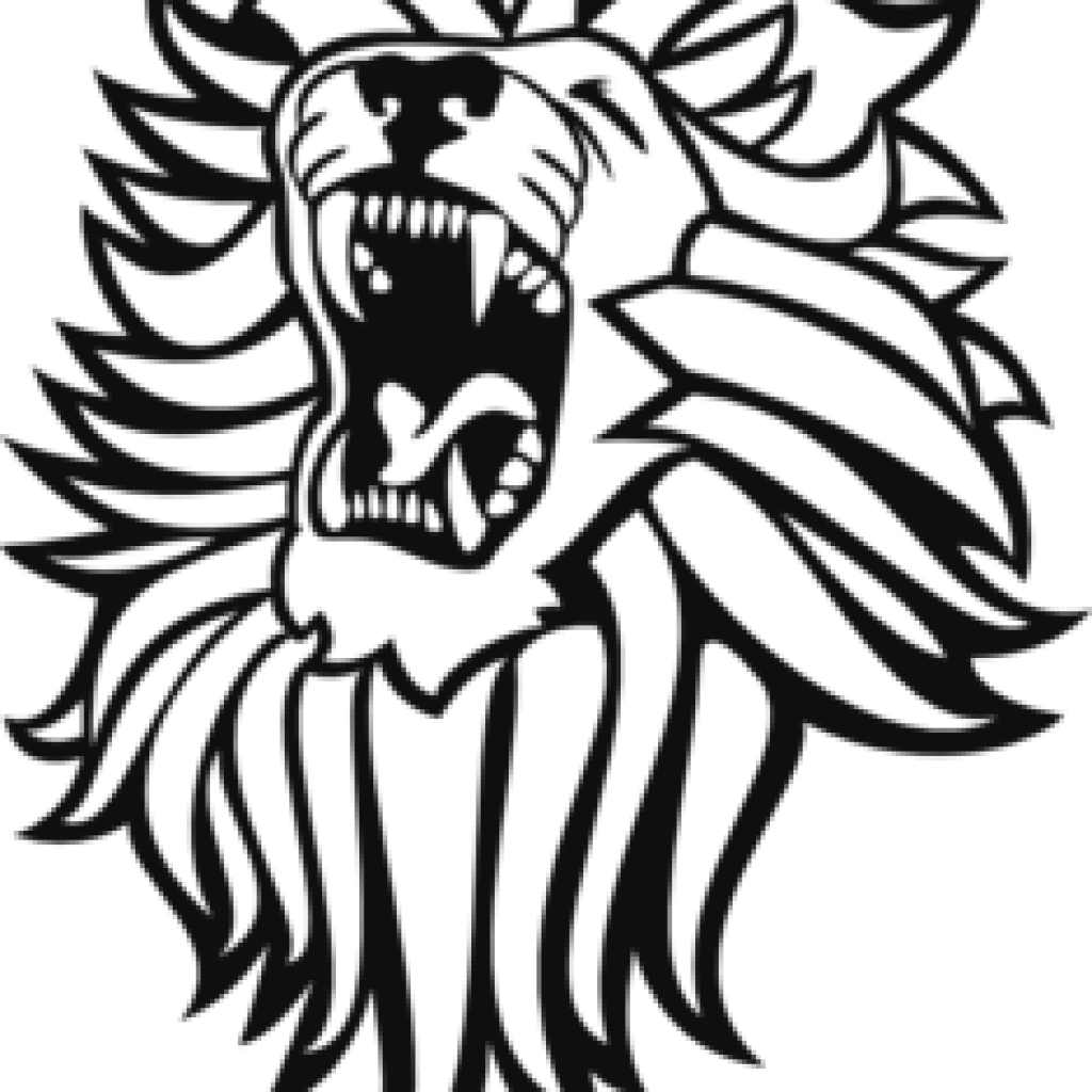 Roaring lion black and. Clipart tiger muscle