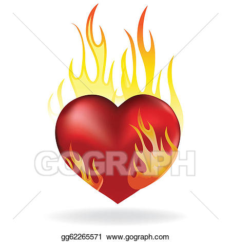 Eps illustration heart in. Hearts clipart fire