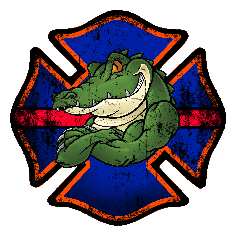 Fireman clipart shield. Florida gator firefighter decal
