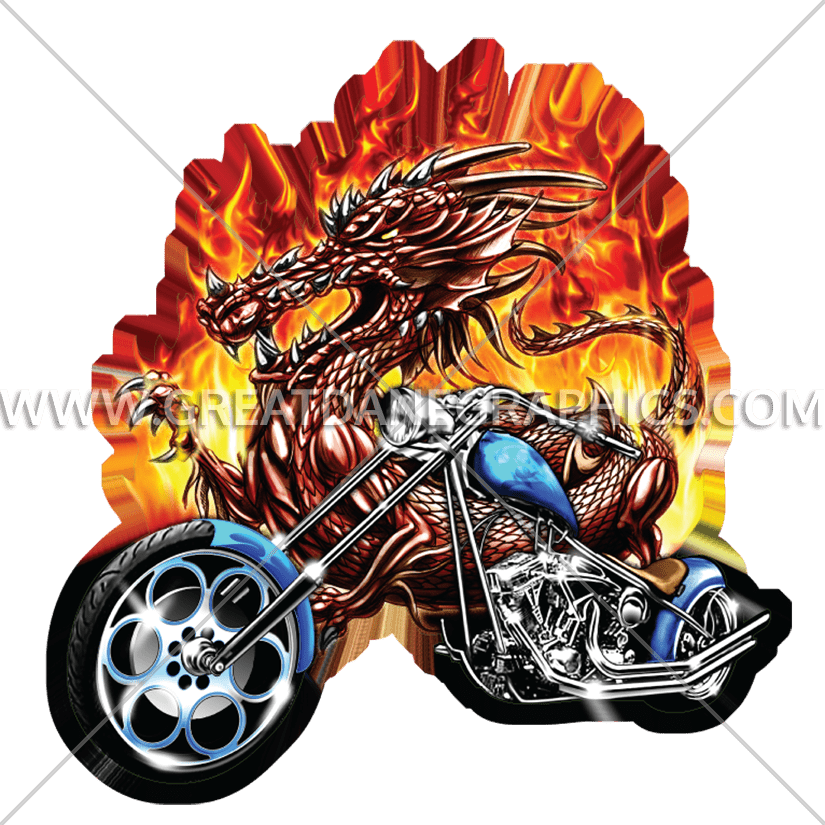 Clipart flames motorcycle. Dragon production ready artwork