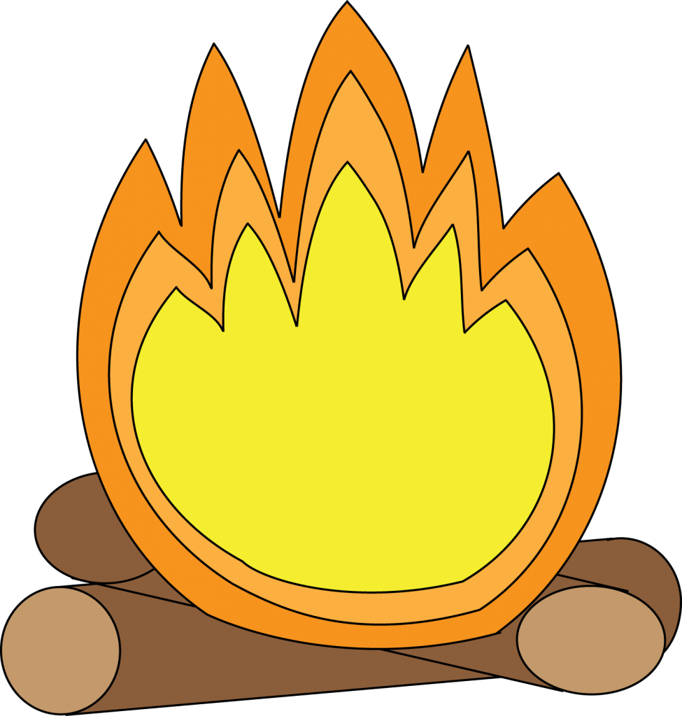 Cartoon camp image group. Clipart fire smore