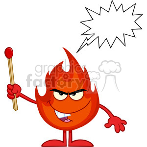 Clipart fire stick. Royalty free rf illustration