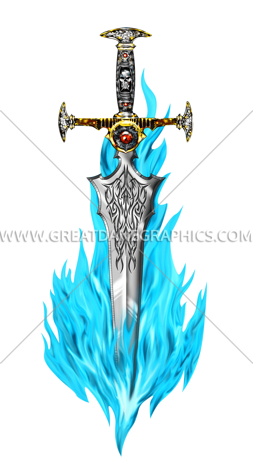 Production ready artwork for. Clipart fire sword