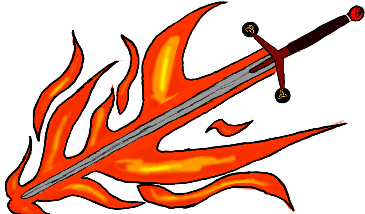 Kyle s flaming by. Clipart fire sword