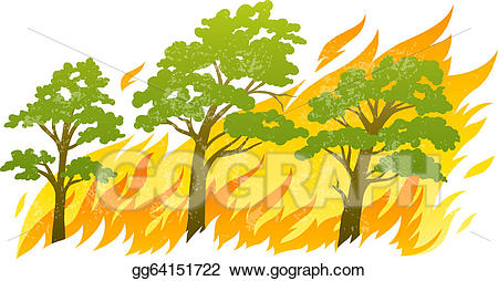 Fire clipart tree. Eps vector burning forest