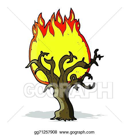 Vector art cartoon winter. Fire clipart tree