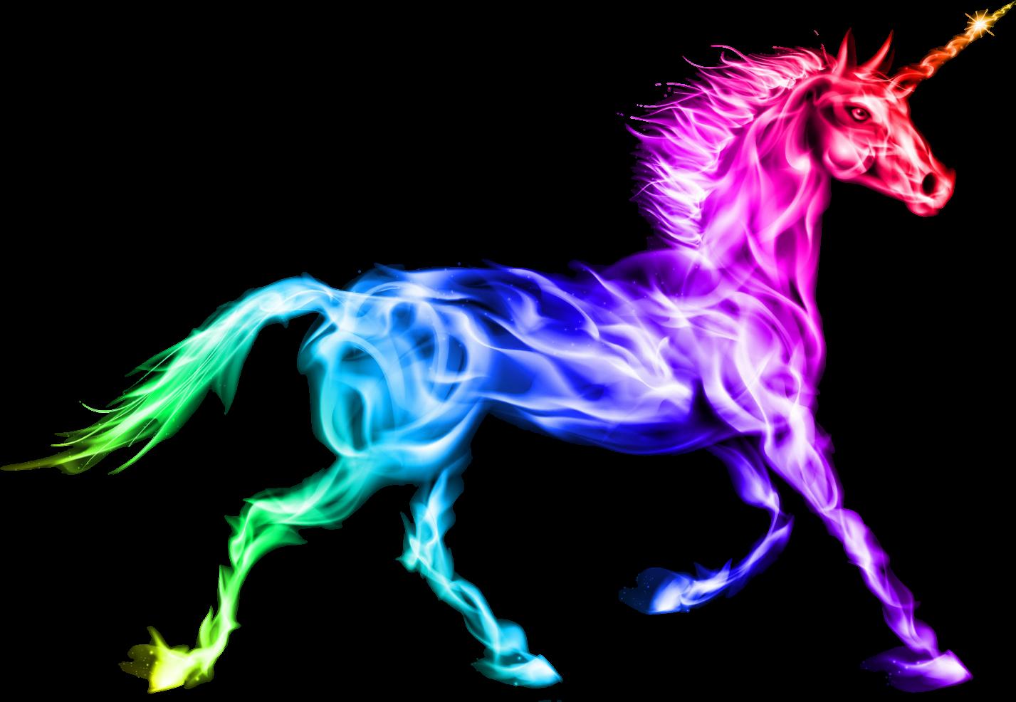 Unicorn rainbow colorful magic. Horse clipart fire
