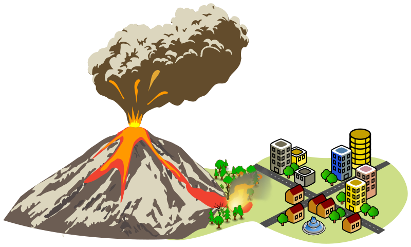 Erupting near the city. Fire clipart volcano