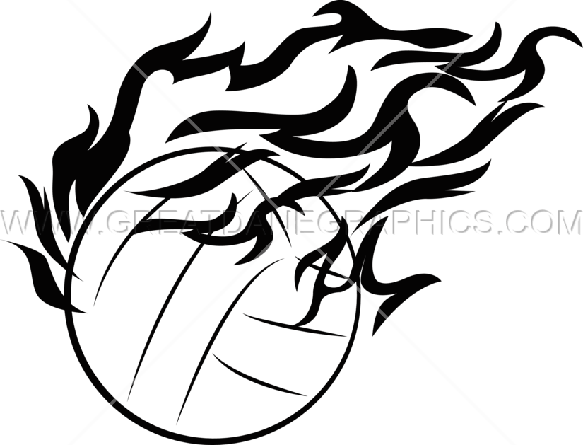 Fireball production ready artwork. Volleyball clipart black and white