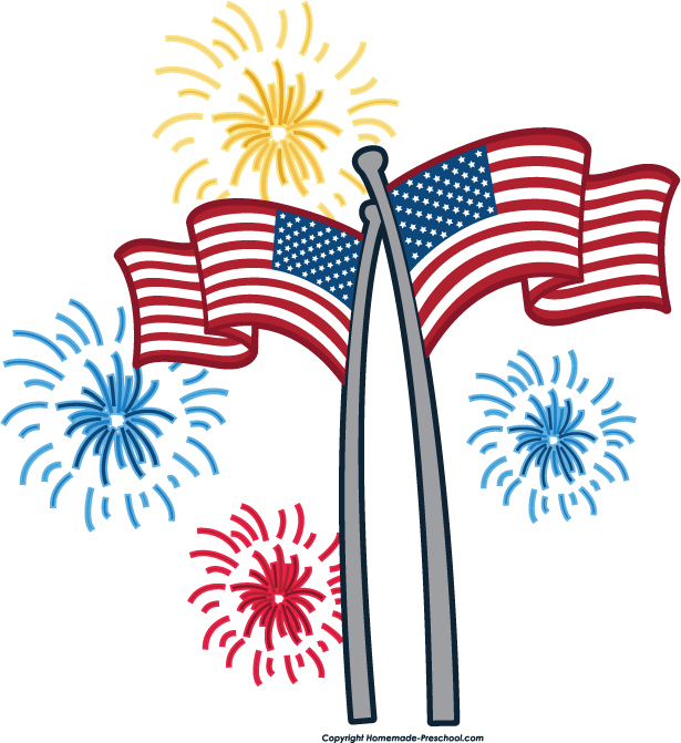 July . Clipart fireworks