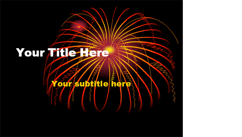 Design slides . Clipart fireworks black background