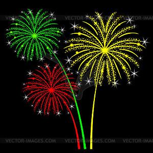 Firework clipart black background. Holiday fireworks on clip