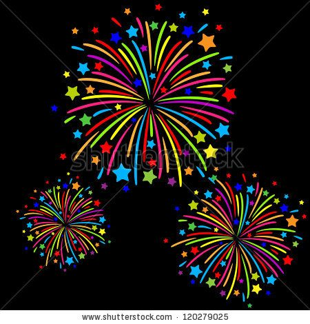 Firecracker clipart colourful firework. Colorful on black background