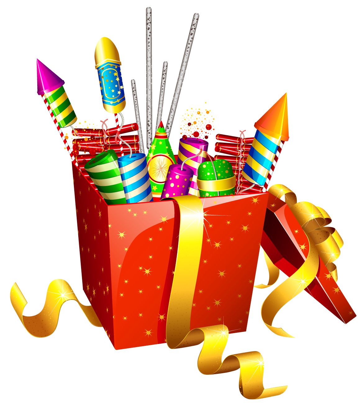 Firework clipart box. Red present with fireworks
