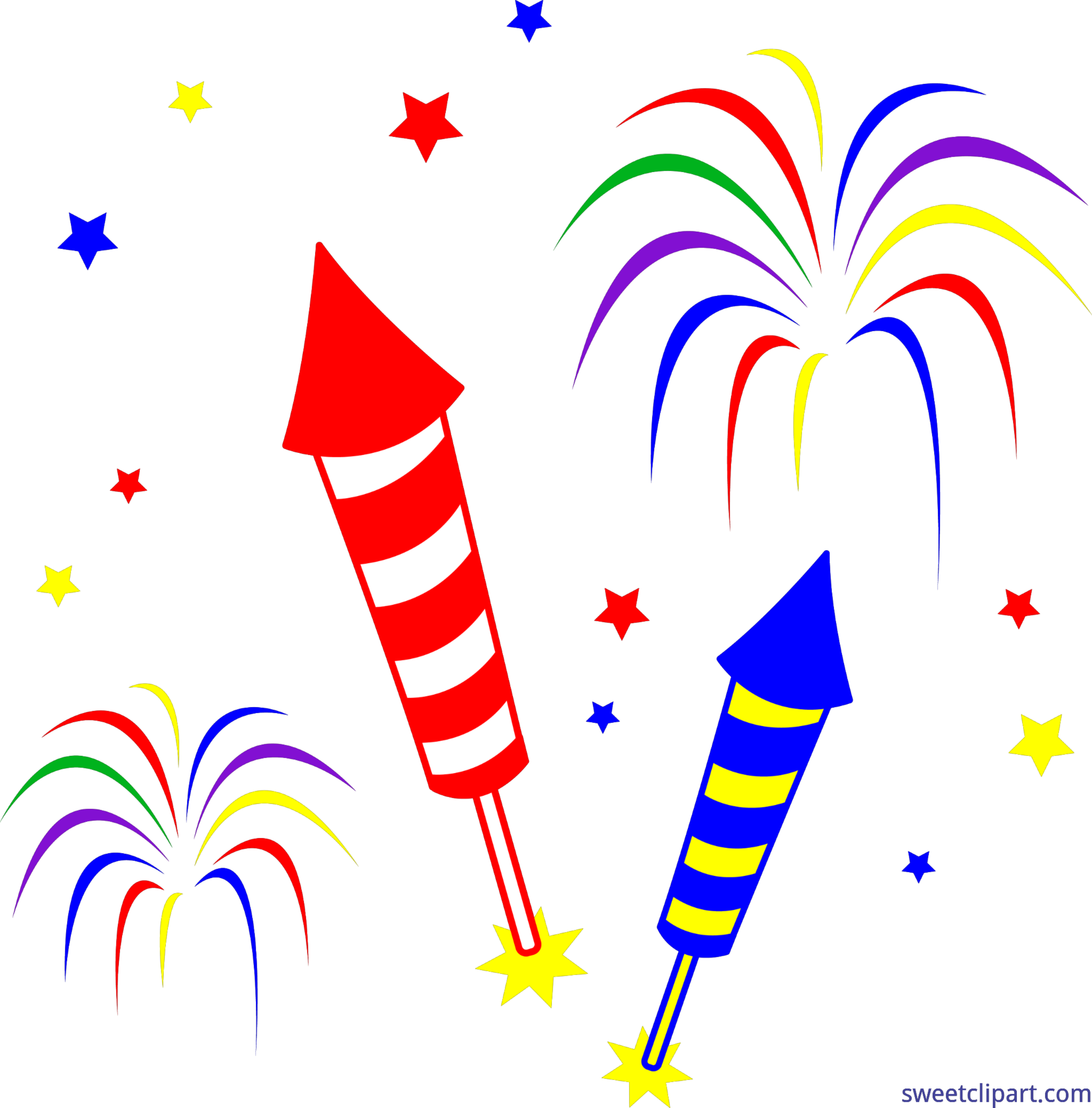 Clipart rocket fourth july. Fireworks rockets clip art