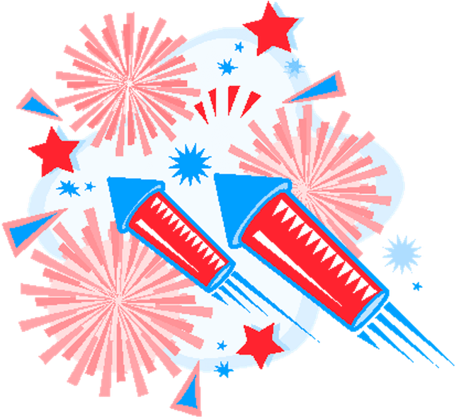 th of july. Clipart fireworks cute