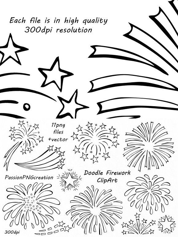 Fireworks clipart doodle. Firework party graphic design