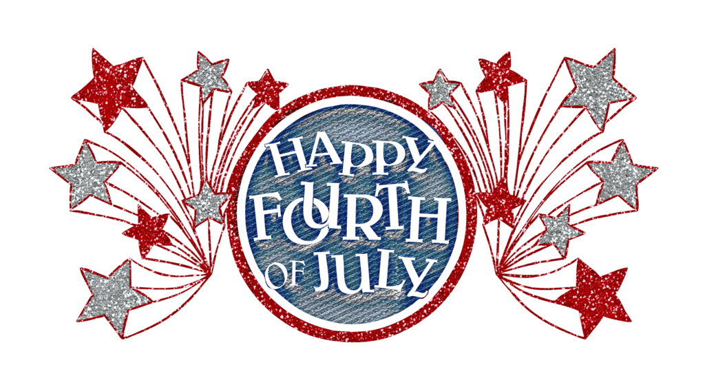 Happy fourth of glitter. July clipart word july