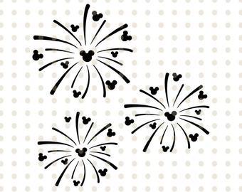 Clipart fireworks mickey. Disney svg etsy