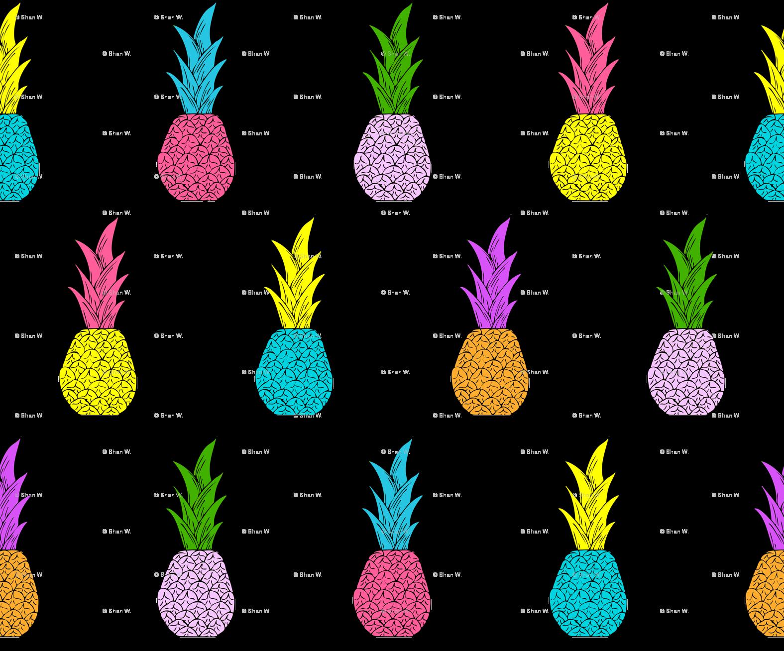 Clipart pineapple symmetrical. Neon pineapples fabric shandubdesigns