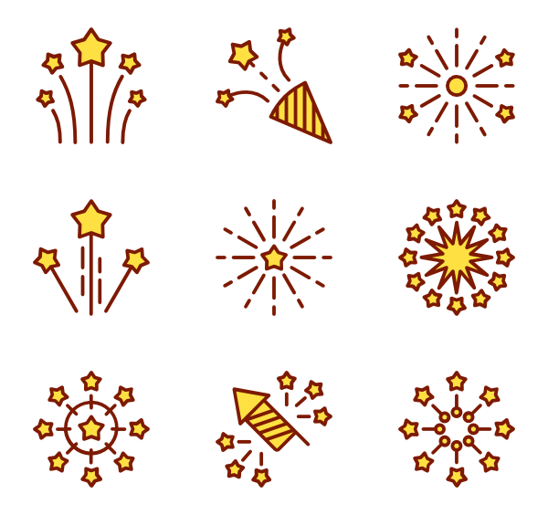 Fireworks icons free vector. Firework clipart party