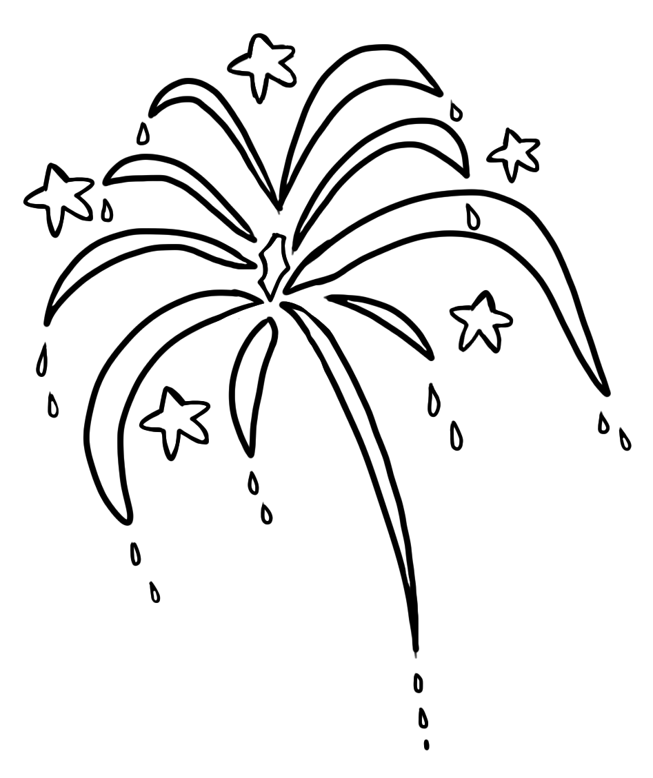 collection of line. Firework clipart outline