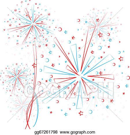 Fireworks clipart outline. Vector stock firework illustration