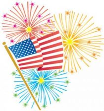 Fourth of july celebration. Clipart fireworks parade