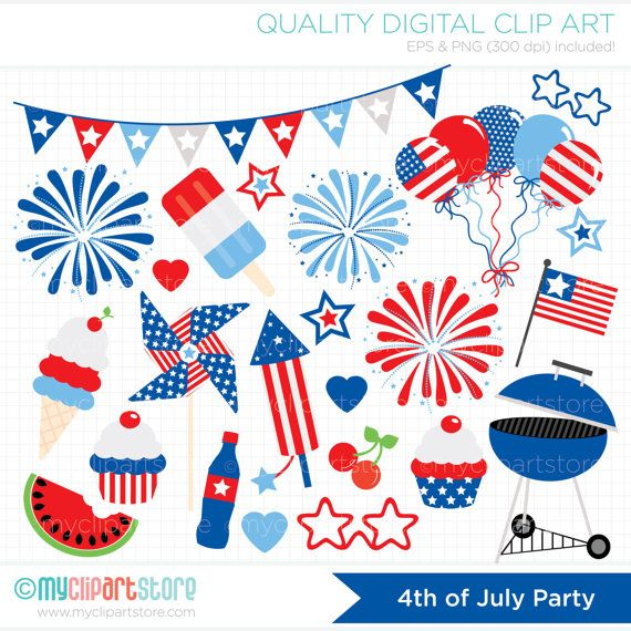 Clipart fireworks parade. Independence day party th