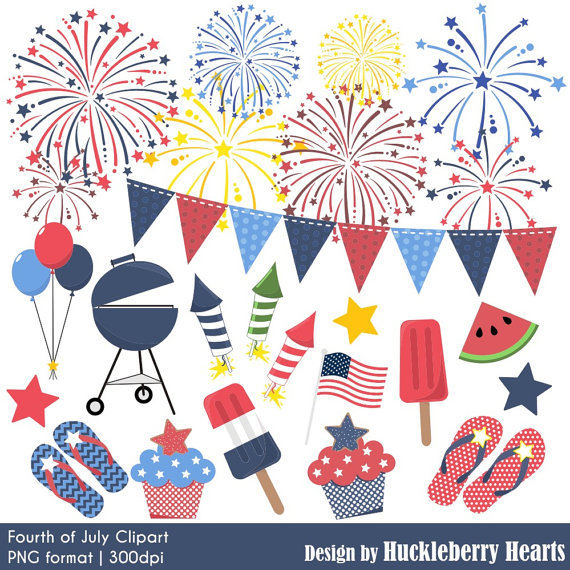 Clipart fireworks summer. Fourth of july independence