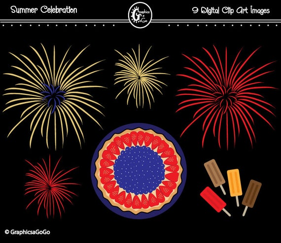 Clipart fireworks summer. Party clip art th