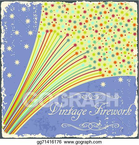 Vector stock fireworks poster. Firework clipart vintage