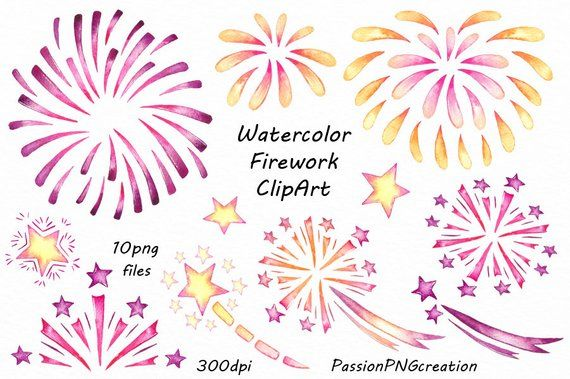Pin by etsy on. Clipart fireworks watercolor