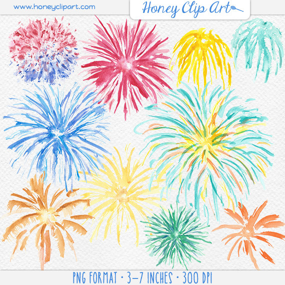 Clip art library . Clipart fireworks watercolor