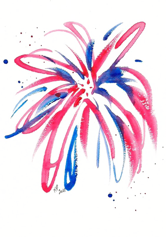 Fireworks Watercolor painting Drawing