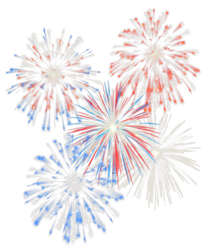 Independence day clip art. Clipart fireworks white background