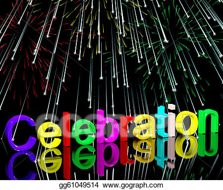 Clipart fireworks word. Celebration with for new