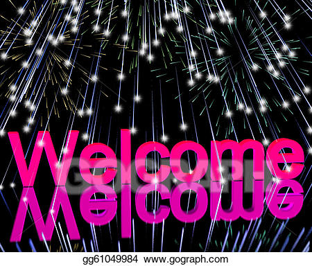 Stock illustration welcome with. Clipart fireworks word