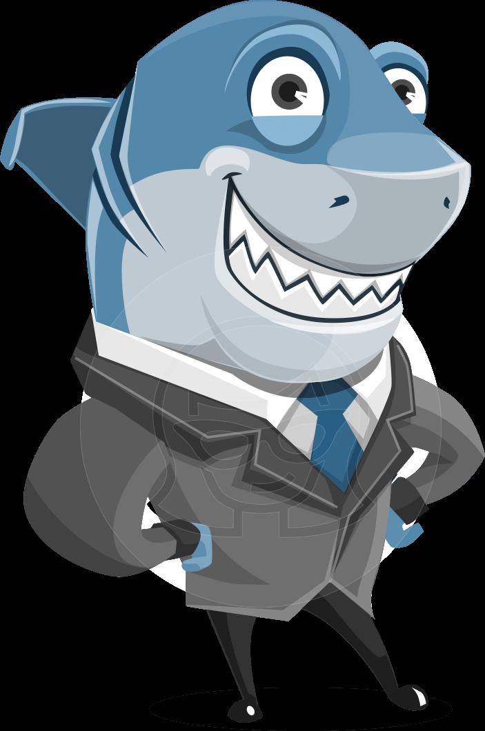 Vector fish character sharky. Creation clipart animal