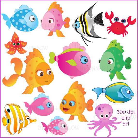 Clipart fish colorful. Clip art commercial use