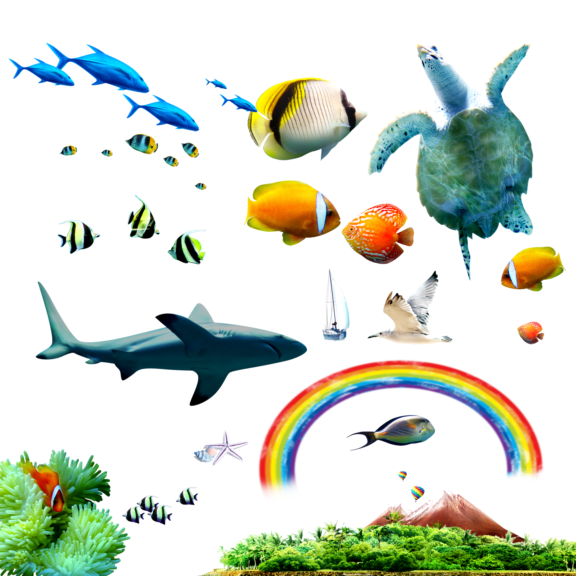 Tropical sea clip art. Clipart fish coral reef fish