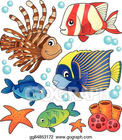 Vector theme collection . Clipart fish coral reef fish