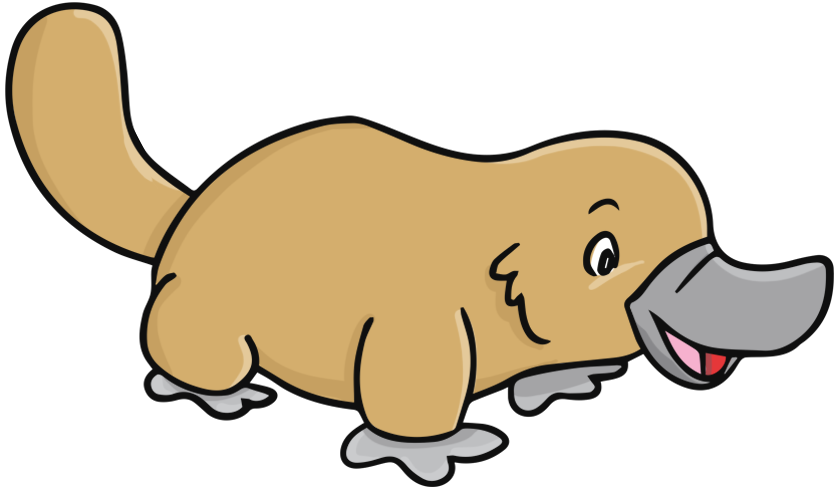Rare of a platypus. Clown clipart monocycle